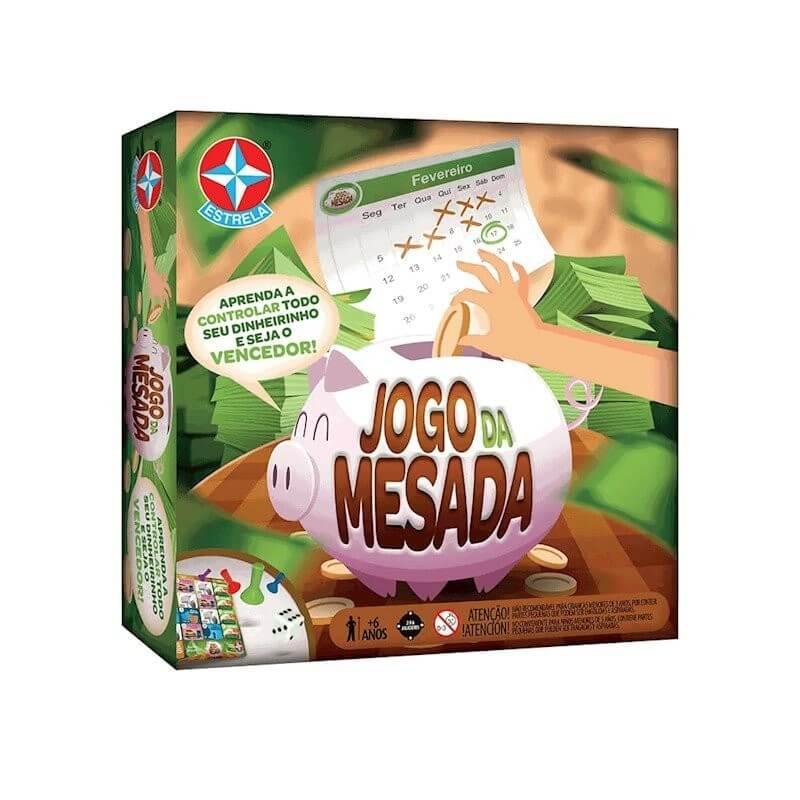 """Embalagem do brinquedo educativo """"Jogo da Mesada"""", da marca Estrela."""