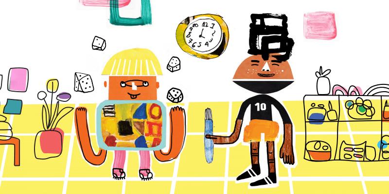 Os amigos Joca e Dado estão brincando na escola. Dado está fazendo brincando com dados e Joca está segurando um pincel.