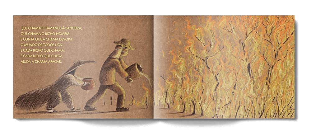 """Parte do interior do livro """"Bicho que Chama Bicho"""", de Mateus Rios, onde vemos um tamanduá entregando um jarro de água para um ser humano tentar apagar um incêndio na floresta."""