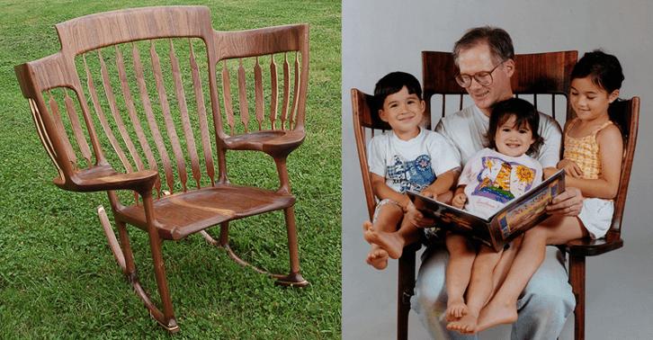 Resultado de imagem para Pai constrói cadeira especial para contar histórias para os três filhos _ Blog da Leiturinha